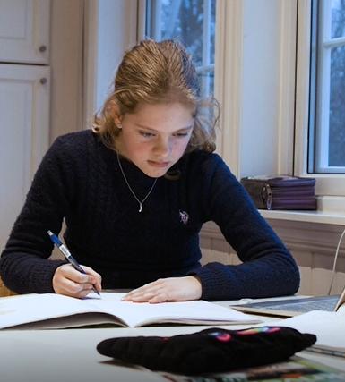Frederikke har leksehjelp for å oppnå en bedre studieteknikk. Privatundervisning har gitt gode resultater i flere fag.